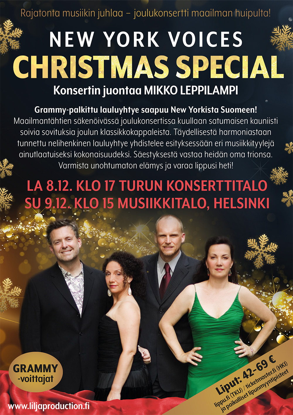 New York Voices - joulukonsertin mainos 2018